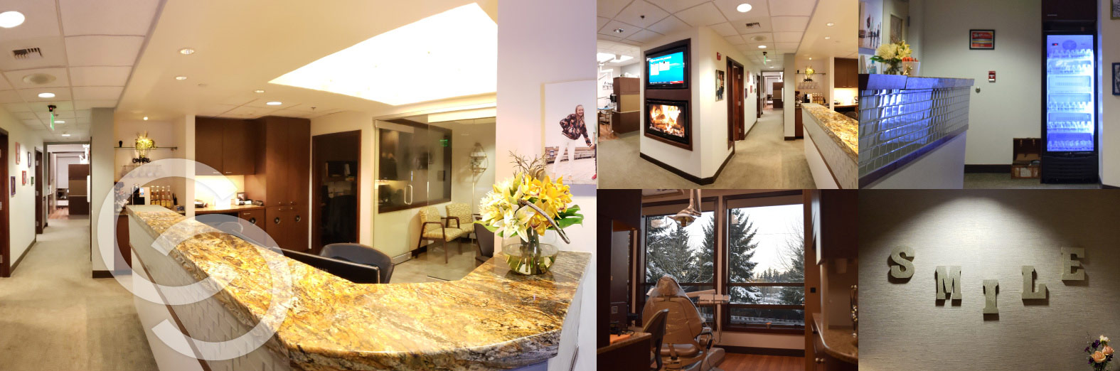 Collage showing front desk, lobby, and operatories of Cooley Smiles in Bellevue, WA